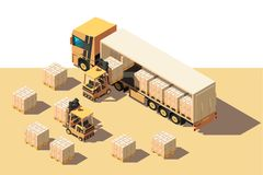 Isometric 3d shipment truck with forklift and box for delivery moving. Concept freight transport, vehicle. Low poly. Vector illustration stock illustration