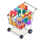 Isometric 3d shopping cart purchase goods gift isolated object icon flat design vector illustration Royalty Free Stock Image