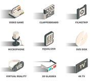 Isometric 3D sieci ikony set Zdjęcie Stock