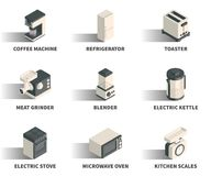 Isometric 3D sieci ikony set Obrazy Stock