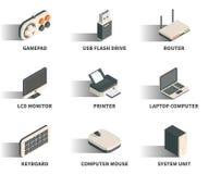 Isometric 3D sieci ikony set Fotografia Royalty Free