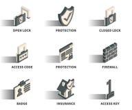 Isometric 3D sieci ikony set Zdjęcia Stock