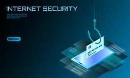 Isometric 3D smartphone kredytowej karty cvv hasło phishing Informacja osobista obrachunkowego emaila przekrętu online hacker spa royalty ilustracja
