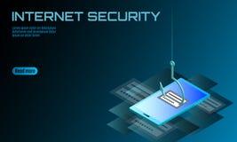 Isometric 3D smartphone nazwy użytkownika hasło phishing Informacja osobista emaila obrachunkowy hacker Spama antivirus internet ilustracja wektor