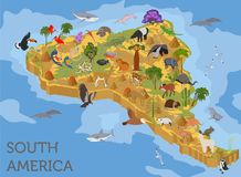 Isometric 3d South America flora and fauna map elements. Animals. Birds and sea life. Build your own geography infographics collection. Vector illustration Royalty Free Stock Photography