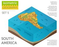 Isometric 3d South America physical map elements. Build your own Stock Images