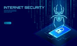 Isometric 3D spider hacker attack danger. Web security virus data safety antivirus concept. Smartphone lock design. Business concept. Cyber crime web insect bug stock illustration