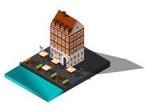 Isometric 3d street from old dov by the sea, hotel, restaurant, Copenhagen, Paris, the historic center of the city, old buildings stock illustration