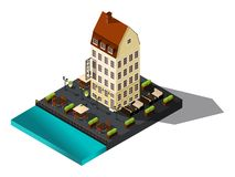 Isometric 3d street from old dov by the sea, hotel, restaurant, Copenhagen, Paris, the historic center of the city, old buildings vector illustration