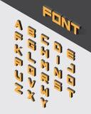 Isometric 3d type font. Set. Vector illustration Stock Photos