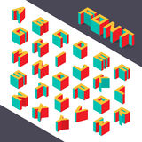 Isometric 3d type font set. Vector illustration Royalty Free Stock Photography