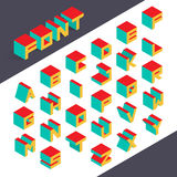 Isometric 3d type font set. Vector illustration Stock Images