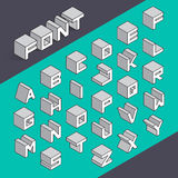 Isometric 3d type font set. Vector illustration Stock Photos