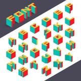 Isometric 3d type font. Set. Vector illustration Royalty Free Stock Photos