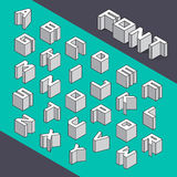 Isometric 3d type font set. Vector illustration Stock Photography