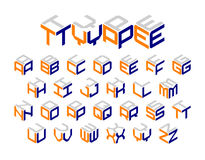 Isometric 3d typeface. Isometric 3d type, three-dimensional alphabet vector illustration