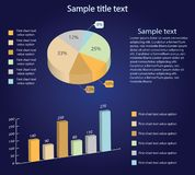 Isometric 3d vector charts. Pie chart and bar chart. Infographic presentation stock illustration