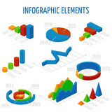 Isometric 3d vector charts set for infographics Stock Image