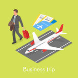 Isometric 3d vector concept of business trip. Businessman with travel case Royalty Free Stock Photo