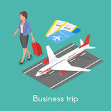 Isometric 3d vector concept of business trip. Royalty Free Stock Image