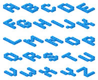 Isometric 3D vector font of plastic blue cubes constructor Royalty Free Stock Photos