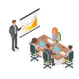 Isometric 3d vector illustration of business presentation or mee. Isometric 3d vector illustration of corporate business presentation or meeting Royalty Free Stock Photo