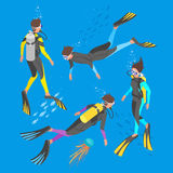 Isometric 3d vector illustration of divers. Stock Photo