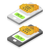 Isometric 3d vector illustration of online buy cinema tickets. Royalty Free Stock Photography