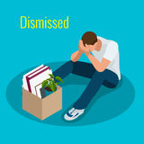 Isometric 3d vector illustration people Dismissed sad man carrying box with her things Dismissal, Unemployment, jobless Royalty Free Stock Photography