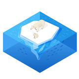 Isometric 3d vector illustration of white bear. Royalty Free Stock Photo