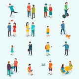 Isometric 3d vector people. Set of woman and man. Stock Photography