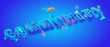Isometric 3d Vector Word Community. Huge Letters. Isometric Projection of Word Community. Huge Letters on Ultramarine Neon Gradient Background. Little People vector illustration