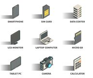 Isometric 3D web icon set. Isometric 3D web icon set - Smartphone, sim card, data center, monitor, laptop computer, micro sd, tablet pc, camera, calculator Stock Image