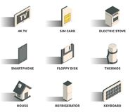 Isometric 3D web icon set. Isometric 3D web icon set - 4K TV, sim card, electric stove, smartphone, floppy disk, thermos, house, refrigerator, keyboard Royalty Free Stock Photos