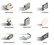Isometric 3D web icon set. Isometric 3D web icon set - Video game, clapperboard, filmstrip, microphone, equaliser, DVD disk, virtual reality, 3D glasses, 4K TV Stock Photo