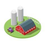 Isometric 3d wektorowa ilustracja gospodarstwo rolne ilustracji