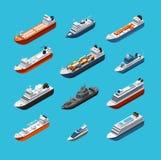 Isometric 3d wojskowy, pasażerscy statki, wektorowy denny transport i wysyłek ikony odizolowywający, łodzi i jachtu ilustracji