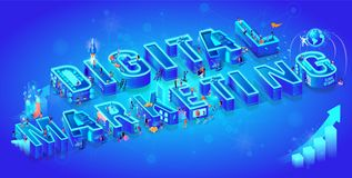 Isometric 3d Word Digital Marketing. Little People royalty free illustration