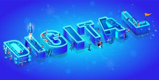 Isometric 3d Word Digital. Users with Gadgets. vector illustration