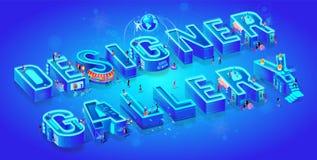 Isometric 3d Words Designer Gallery. Neon Letters stock illustration