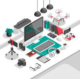 Isometric 3d workspace concept vector. Devices set. Laptop, smart phone, tablet, player, desktop computer, glasses cup of coffee notebook headphones Stock Photo