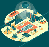 Isometric 3d workspace concept vector. Devices set. Laptop, smart phone, tablet, player, desktop computer, glasses cup of coffee notebook headphones Stock Image