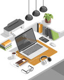 Isometric 3d workspace concept vector. Devices set. Laptop, smart phone, tablet, player, desktop computer, glasses cup of coffee notebook headphones Royalty Free Stock Photo