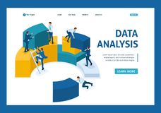 Isometric data collection for analytics, employees stock illustration