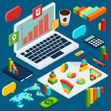 Isometric data analysis infographic vector illustration