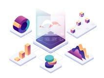 Isometric data analysis. Modern digital graphics and charts analyzing statistics. Vector 3d illustration. Isometric data analysis. Modern digital graphics and royalty free illustration