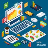 Isometric data analysis set Stock Image