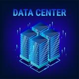 Isometric data center background vector illustration