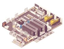 Isometric data center interior stock images