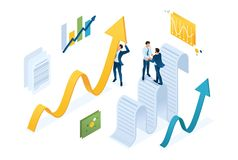 Isometric data collection agreement, businessmen collect information and structure it. Concept for web design.  stock illustration